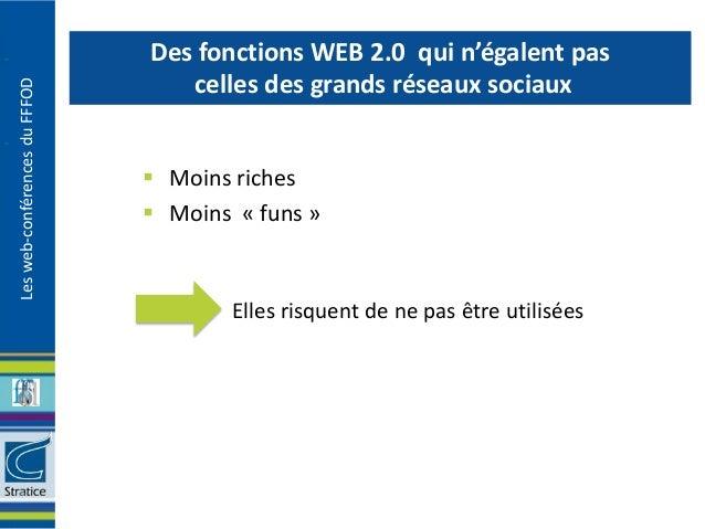 Des fonctions WEB 2.0 qui n'égalent pas                                  celles des grands réseaux sociauxLes web-conféren...