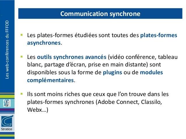Communication synchroneLes web-conférences du FFFOD                                Les plates-formes étudiées sont toutes...
