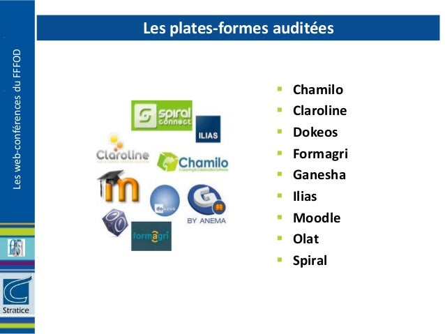 Les plates-formes auditéesLes web-conférences du FFFOD                                                    Chamilo        ...