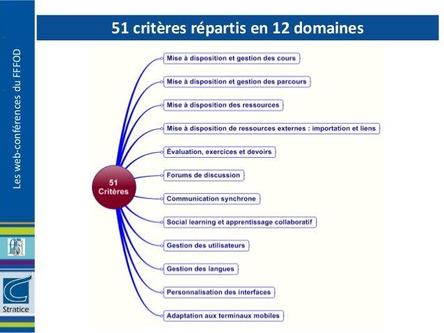 51 critères répartis en 12 domainesLes web-conférences du FFFOD