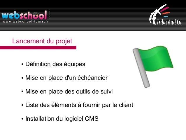 Lancement du projet ● Définition des équipes ● Mise en place d'un échéancier ● Mise en place des outils de suivi ● Liste d...
