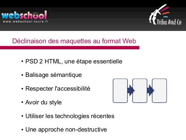 Déclinaison des maquettes au format Web ● PSD 2 HTML, une étape essentielle ● Balisage sémantique ● Respecter l'accessibil...