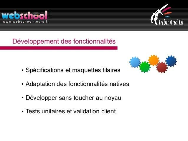Développement des fonctionnalités ● Spécifications et maquettes filaires ● Adaptation des fonctionnalités natives ● Dévelo...