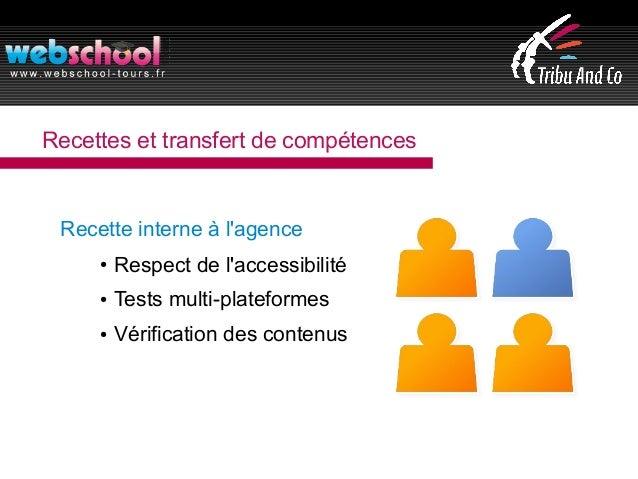 Recettes et transfert de compétences Recette interne à l'agence ● Respect de l'accessibilité ● Tests multi-plateformes ● V...