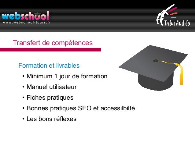 Transfert de compétences Formation et livrables ● Minimum 1 jour de formation ● Manuel utilisateur ● Fiches pratiques ● Bo...