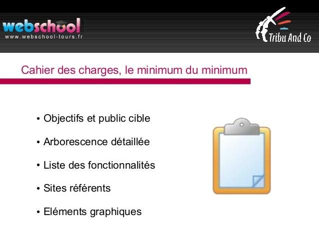 Cahier des charges, le minimum du minimum ● Objectifs et public cible ● Arborescence détaillée ● Liste des fonctionnalités...