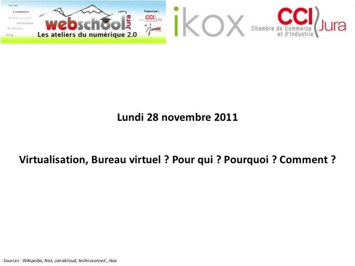 Lundi 28 novembre 2011        Virtualisation, Bureau virtuel ? Pour qui ? Pourquoi ? Comment ?Sources : Wikipedia, Nist, c...