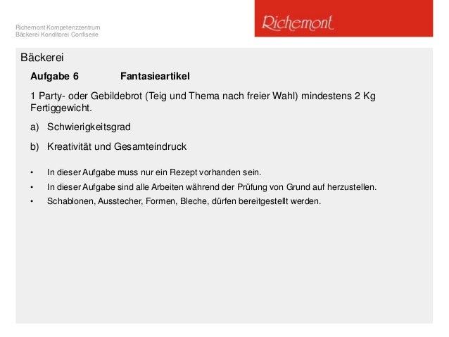 Richemont Kompetenzzentrum Bäckerei Konditorei Confiserie Aufgabe 6 Fantasieartikel 1 Party- oder Gebildebrot (Teig und Th...