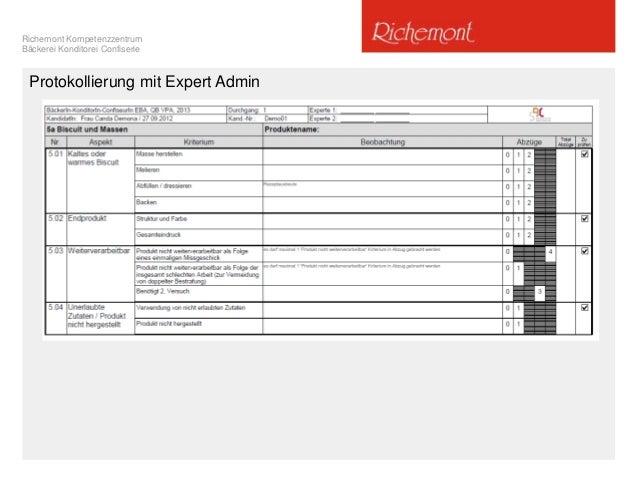 Richemont Kompetenzzentrum Bäckerei Konditorei Confiserie Protokollierung mit Expert Admin