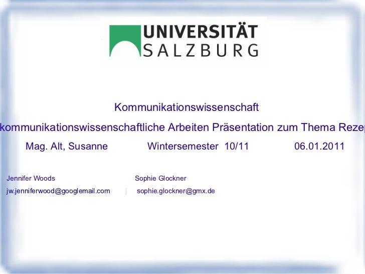 <ul>Kommunikationswissenschaft Einführung in das kommunikationswissenschaftliche Arbeiten Präsentation zum Thema Rezeption...
