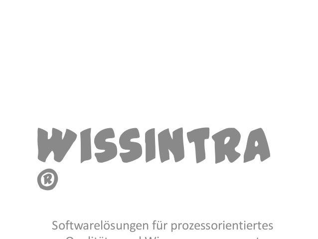 WissIntra®Softwarelösungen für prozessorientiertes