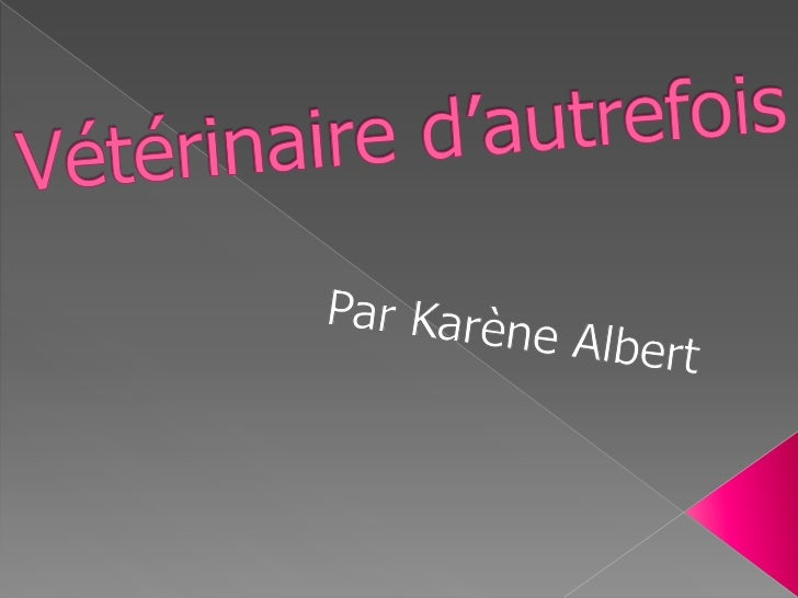 Vétérinaire d'autrefois <br />Par Karène Albert<br />