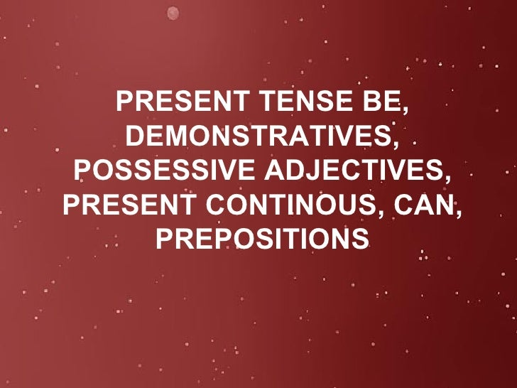 PRESENT TENSE BE, DEMONSTRATIVES, POSSESSIVE ADJECTIVES, PRESENT CONTINOUS, CAN, PREPOSITIONS