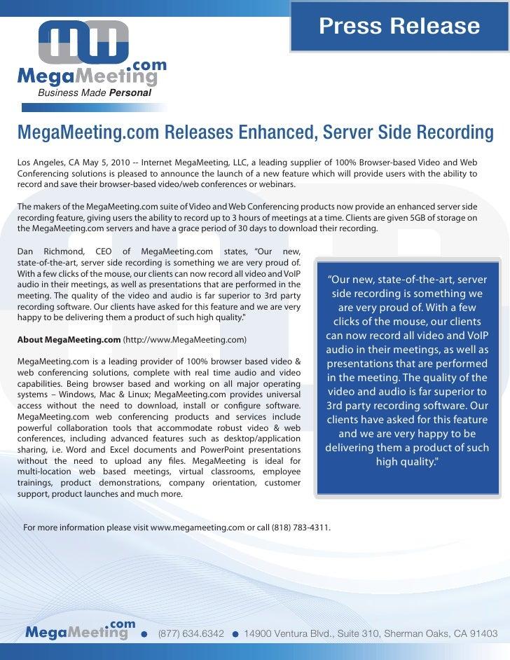 Press Release                                com      Business Made Personal    MegaMeeting.com Releases Enhanced, Server ...