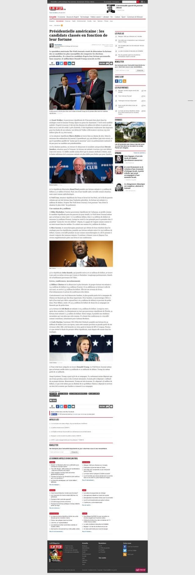 'Présidentielle américaine   les candidats classés en fonction de leur fortune