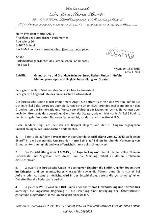 Präsident schulz und abgeordnete brief