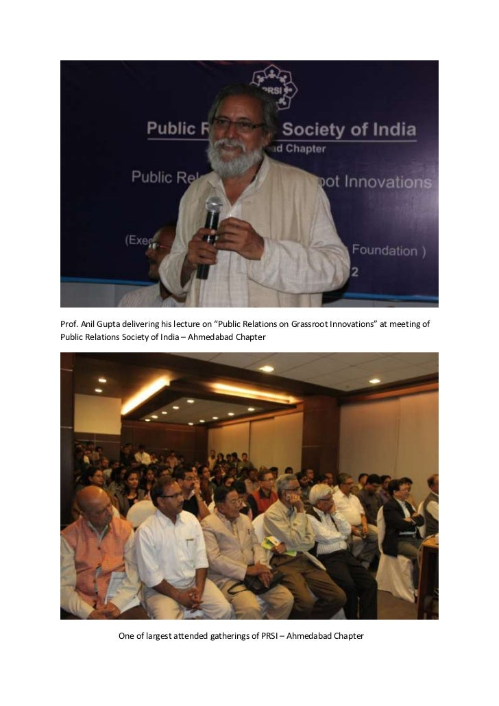 """Prof. Anil Gupta delivering his lecture on """"Public Relations on Grassroot Innovations"""" at meeting ofPublic Relations Socie..."""