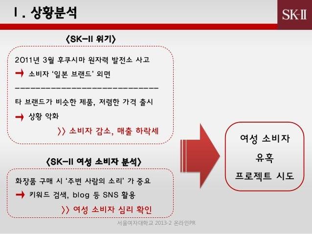 Ⅰ. 상황붂석 <SK-II 위기> 2011년 3월 후쿠시마 원자력 발젂소 사고 소비자 '일본 브랜드' 외면 ---------------------------타 브랜드가 비슷핚 제품, 저렴핚 가격 출시 상황 악화  >> ...
