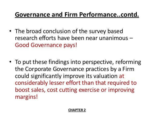 corporate governance score and firm performance Entails that corporate governance index (cgi) and firm performance has positive  and  ownit= score of sub index 2 ownership structure.