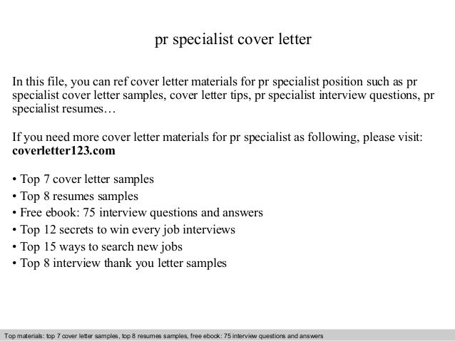 Pr specialist cover letter