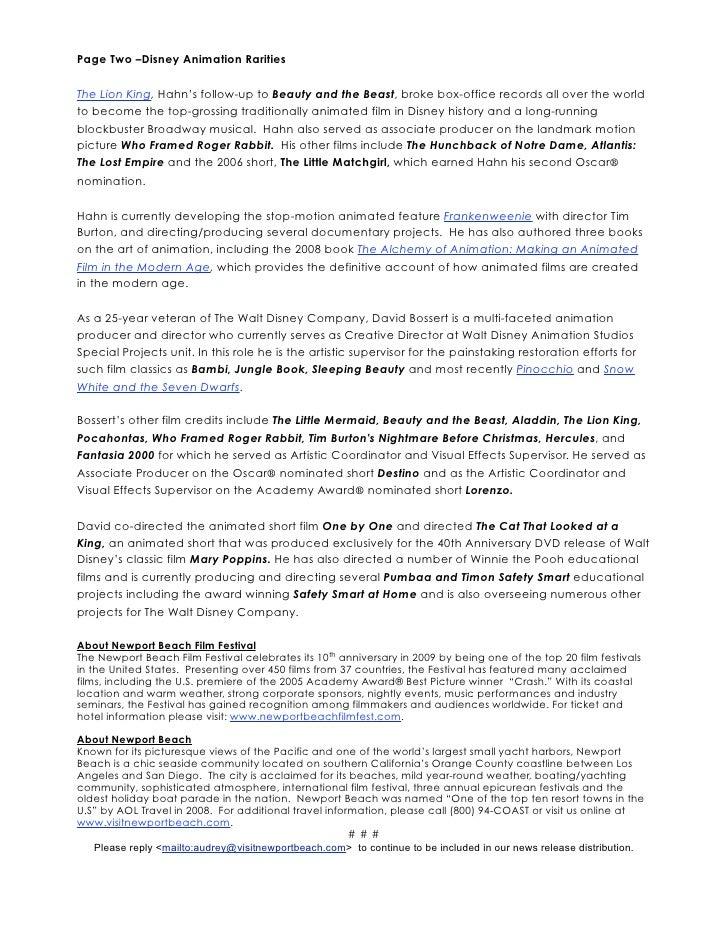 Newport Beach Film Festival Disney Rarities 2009 Press Release