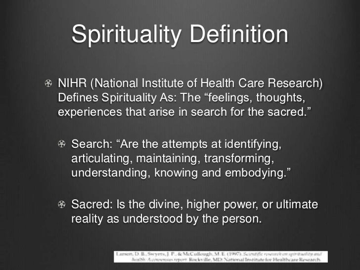 define spirituality in psychology