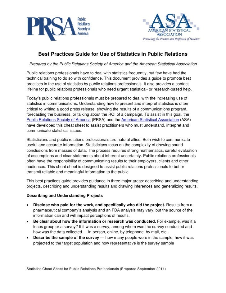 Best Practices Guide for Use of Statistics in Publi...