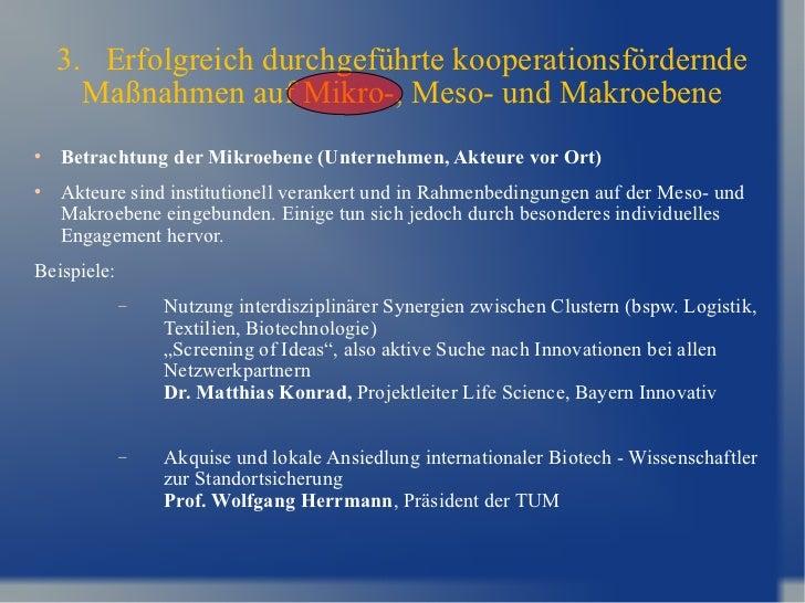 3.  Erfolgreich durchgeführte kooperationsfördernde Maßnahmen auf Mikro-, Meso- und Makroebene <ul><li>Betrachtung der Mik...