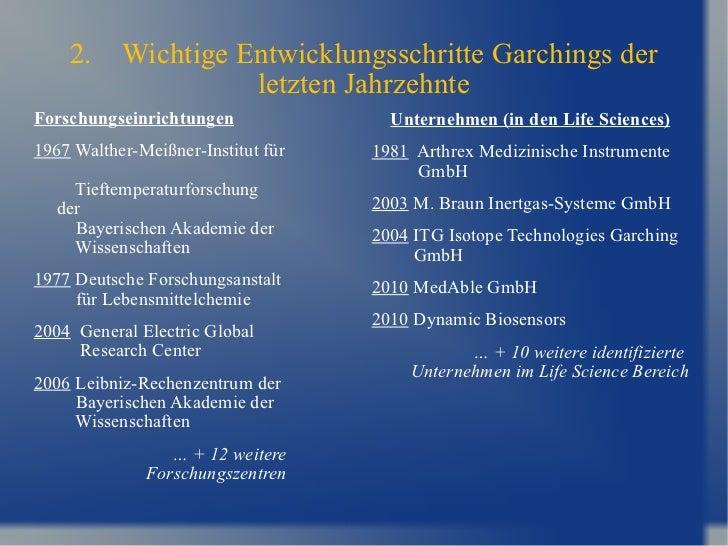2. Wichtige Entwicklungsschritte Garchings der letzten Jahrzehnte <ul><li>Unternehmen (in den Life Sciences) </li></ul><ul...
