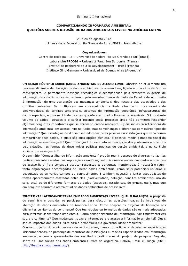 1                                      Seminário Internacional                        COMPARTILHANDO INFORMACÃO AMBIENTAL:...