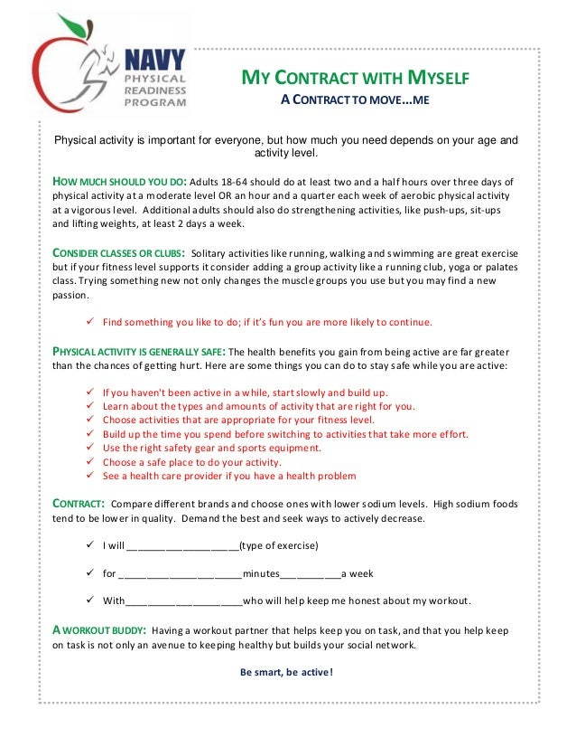 Fitness contract for Exercise contract template