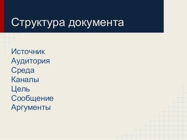 Структура документа Источник Аудитория Среда Каналы Цель Сообщение Аргументы