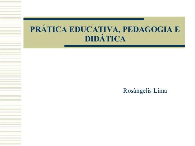 PRÁTICA EDUCATIVA, PEDAGOGIA E DIDÁTICA  Rosângelis Lima