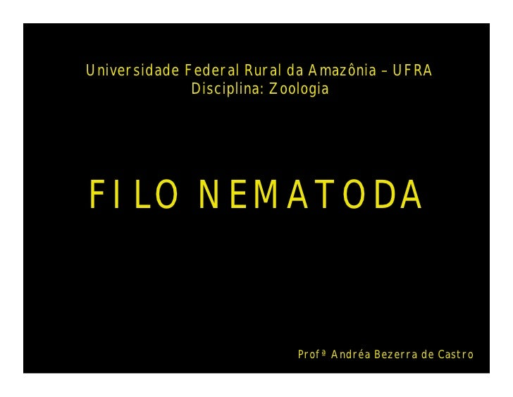 Universidade Federal Rural da Amazônia – UFRA              Disciplina: ZoologiaFILO NEMATODA                           Pro...