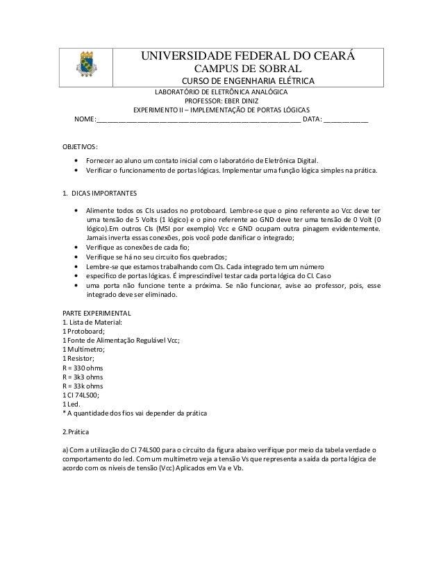 UNIVERSIDADE FEDERAL DO CEARÁ CAMPUS DE SOBRAL CURSO DE ENGENHARIA ELÉTRICA LABORATÓRIO DE ELETRÔNICA ANALÓGICA PROFESSOR:...