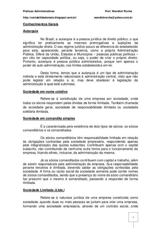 Práticas Administrativas http://contabilidademais.blogspot.com.br/  Prof. Wandick Rocha wandickrocha@yahoo.com.br  Conheci...
