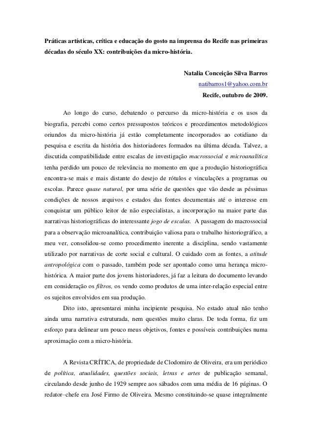 Práticas artísticas, crítica e educação do gosto na imprensa do Recife nas primeiras décadas do século XX: contribuições d...