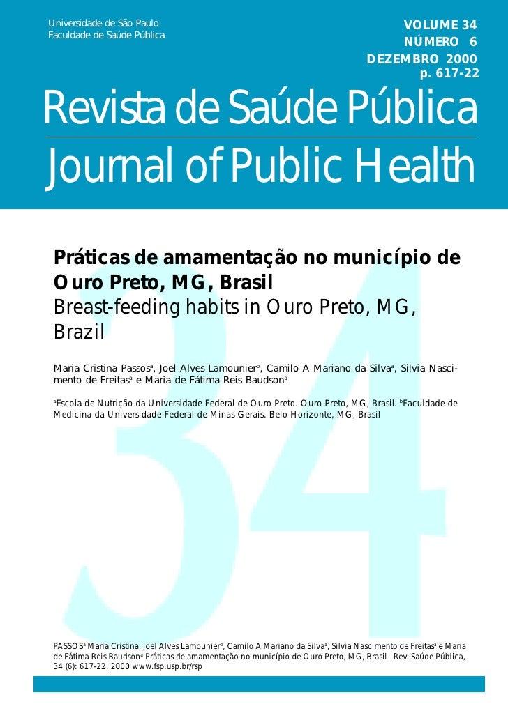 Universidade de São Paulo                                                                VOLUME 34 Faculdade de Saúde Públ...