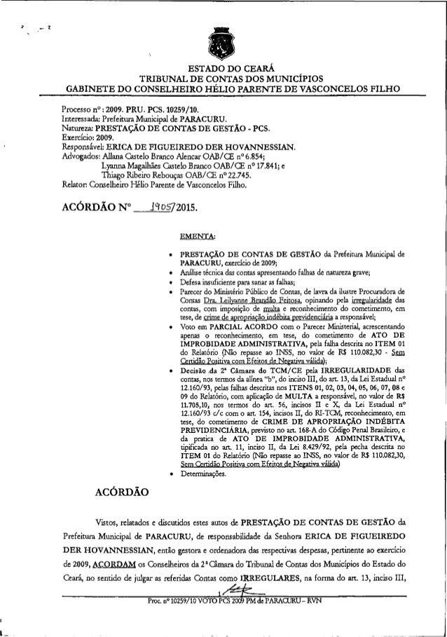 """ESTADO DO CEARÁ TRIBUNAL DE CONTAS DOS MUNICÍPIOS GABINETE DO CONSELHEIRO HÉLIO PARENTE DE VASCONCELOS FILHO Processo r."""" ..."""