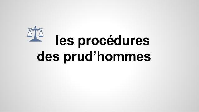 les procédures des prud'hommes