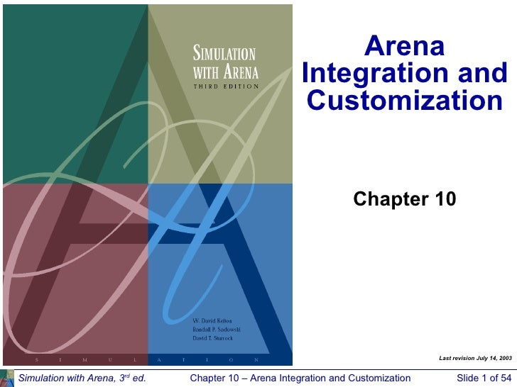 Arena Integration and Customization Simulation with Arena, 3 rd  ed. Chapter 10 – Arena Integration and Customization Slid...