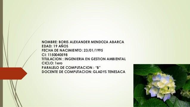 NOMBRE: BORIS ALEXANDER MENDOZA ABARCA EDAD: 19 AÑOS FECHA DE NACIMIENTO: 23/01/1995 CI: 1150040598 TITULACION : INGENIERI...