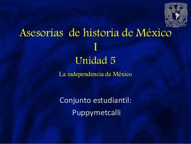 Conjunto estudiantil: Puppymetcalli Asesorías de historia de México I Unidad 5 La independencia de México