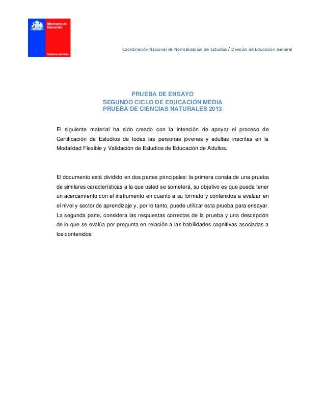 Coordinación Nacional de Normalización de Estudios / División de Educación General PRUEBA DE ENSAYO SEGUNDO CICLO DE EDUCA...