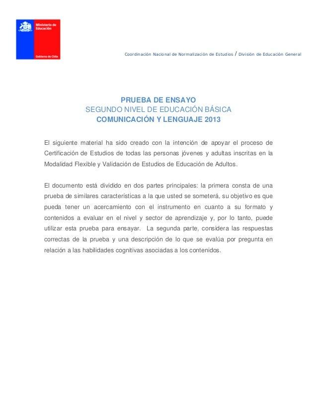 Coordinación Nacional de Normalización de Estudios / División de Educación General PRUEBA DE ENSAYO SEGUNDO NIVEL DE EDU...