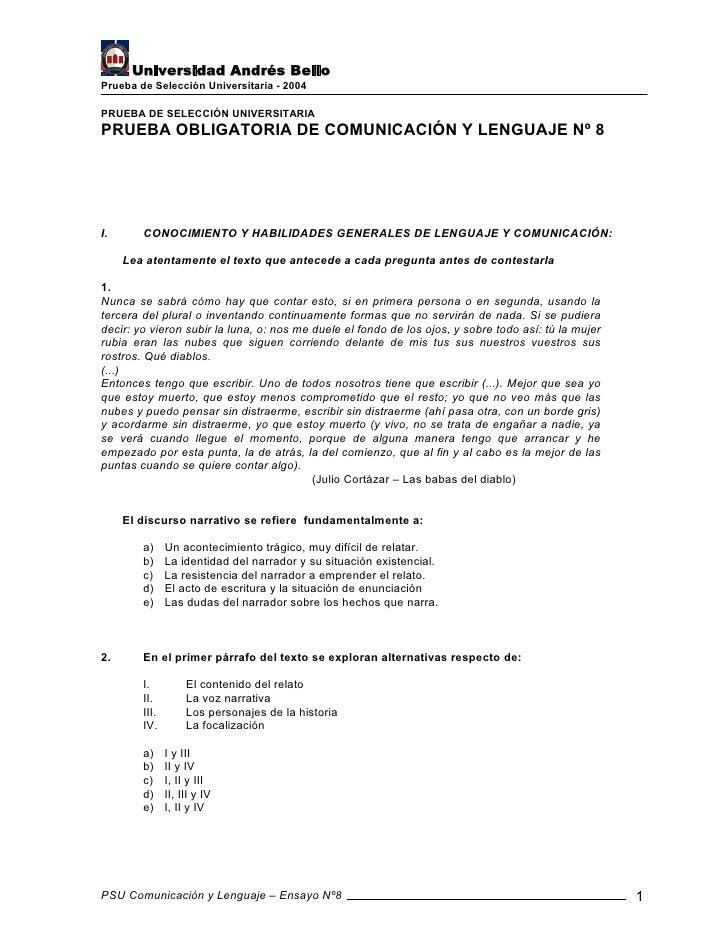 Universidad Andrés Bello Prueba de Selección Universitaria - 2004  PRUEBA DE SELECCIÓN UNIVERSITARIA PRUEBA OBLIGATORIA DE...