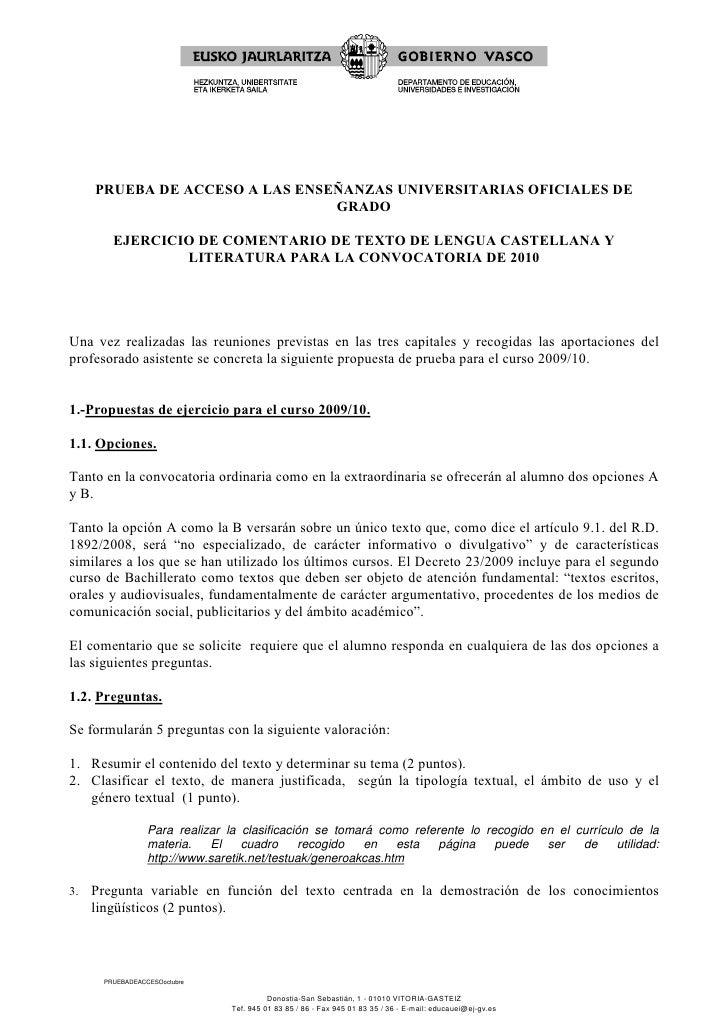 PRUEBA DE ACCESO A LAS ENSEÑANZAS UNIVERSITARIAS OFICIALES DE                                 GRADO          EJERCICIO DE ...