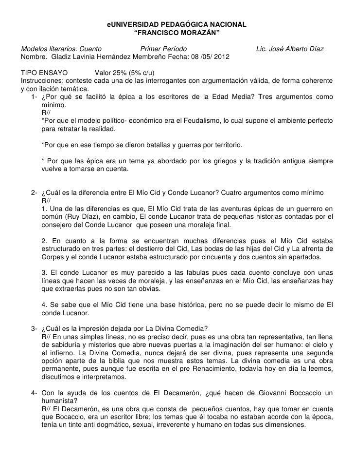 """eUNIVERSIDAD PEDAGÓGICA NACIONAL                                 """"FRANCISCO MORAZÁN""""Modelos literarios: Cuento        Prim..."""