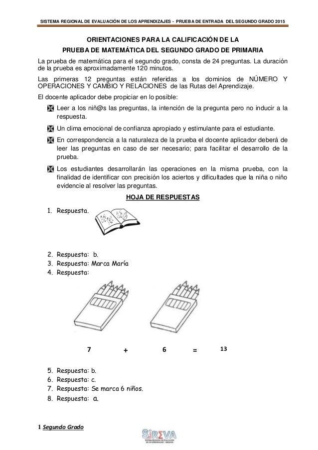 Prueba 2º entrada Matemática SIREVA 2015