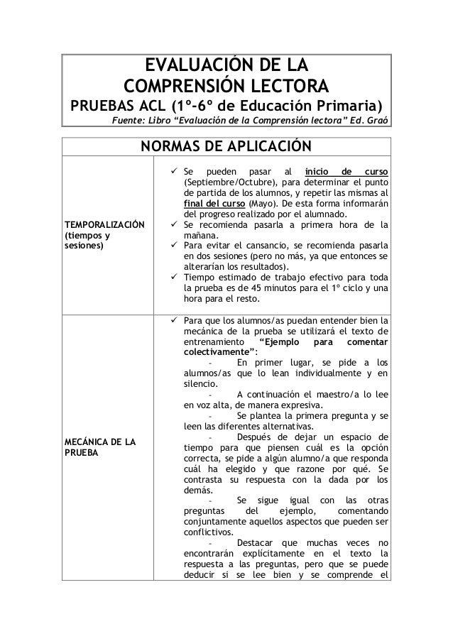 """EVALUACIÓN DE LA  COMPRENSIÓN LECTORA  PRUEBAS ACL (1º-6º de Educación Primaria)  Fuente: Libro """"Evaluación de la Comprens..."""